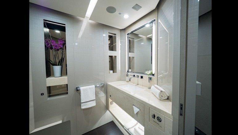 This private dreamliner jet could serve as a second home for Private jet bathroom
